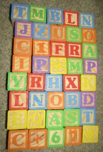 Lot of 40 Older ALPHABET & NUMBER Blocks with pictures/Words VG Used Condition