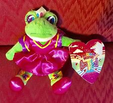 "NWT 8"" LISA FRANK GREEN FROG PRINCESS IN DRESS PLUSH STUFFED ANIMAL SOFT TOY"