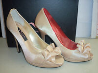 Nina New Store Display Womens Evelixa Gold Satin Open Toe Heels 7.5 M Shoes