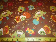 Spaceship Monkey & Aliens Brown Cotton Flannel Fabric BTY