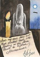 ACEO PRINT OF PAINTING RYTA THE RAVEN CROW EDGAR ALLAN POE GHOST HALLOWEEN ART