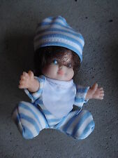"""Vintage Plastic Small Brown Hair Character Girl Doll 3"""" Tall"""