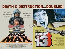 "MAD MAX / FRIDAY the 13th double bill repro UK quad poster 30x40"" FREE P&P"
