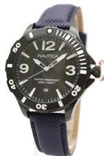 New Nautica Steel Black Navy Blue Leather Date Men Dress Watch 45mm N13025G $130
