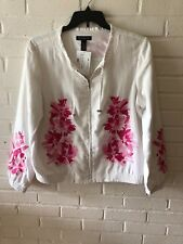New INC Woman's Embroidered Linen Jacket. White w Pink Embroidery Size Large V91