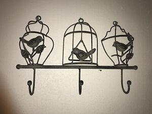 Vintage Retro Birds Key Holder Hook Green Metal tea towel holder