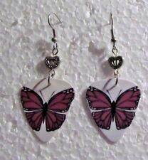 Purple Butterfly w Heart Accent Handmade Dangle Wire Earrings