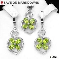12 ct  Peridot Earrings & Silver Pendant Set *