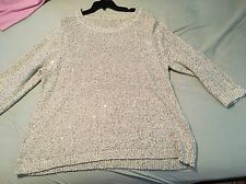 Sequined Silver Sweater Holiday Sequin Sparkle 3/4 Sleeves Women