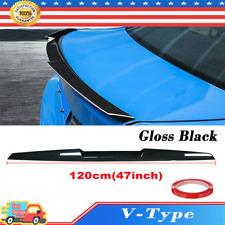 120cm Gloss Black Universal Car Rear Roof Lip Spoiler Tail Trunk Wing Sticker Ct Fits Toyota Yaris
