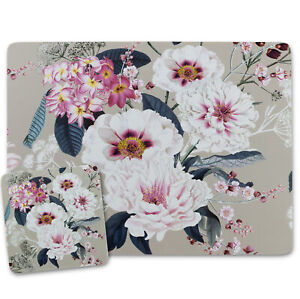 Beige Cream Placemats and Coasters Cork Backed Place Mats MDF Floral Design 4/6