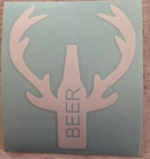 Beer, Deer Beer with Antlers   Car truck Decal White