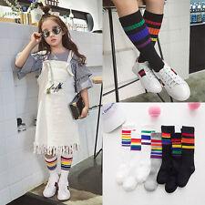 Kids Baby Girls Boy Casual Rainbow Striped Knee High Stockings Soft Socks Sock