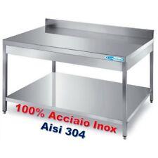 Tavolo In Acciaio Inox cm 100x60x85H + Ripiano e Alzatina Banco  Professionale