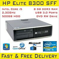 Fast Cheap HP Compaq Elite 8300 SFF Intel i5-3rdGen 8GB RAM 500HDD Win-10p Wi-Fi