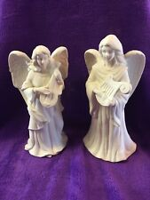 "Set of 2 Partylite Lyrical Angels 10"" Candleholders Harp Mandolin"