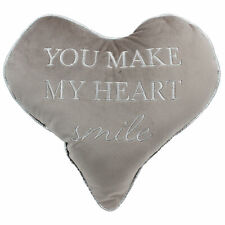 Heart Cushion Grey Velour with Wording 'You make my heart smile'