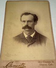 Antique Victorian American Mustached Man! Denver, Colorado Cabinet Card Photo!