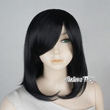 Medium 40CM Short Women Girls Wavy Black Anime Cosplay Heat Resistant Full Wig