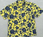 Hawaiian Surf Shirt Yellow Hurley Blue Hibiscus Floral Men's Sz L Made In USA