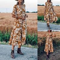 UK Women Short Sleeve Beach Holiday Maxi Dress Floral Holiday Bohemia Wrap Dress