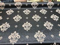 Fleur De Lis Charcoal Damask Jacquard Upholstery Fabric By the yard