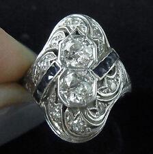 Antique Diamond Sapphire Ring Art Deco Toi at Moi Old European Cut 18k Gold 1920