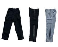 NEW Men's Cargo Pants Fleece Lined Casual Jogging Sport Trousers Black/ Grey