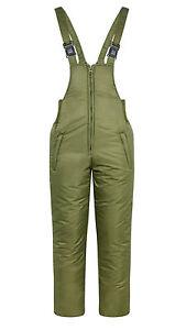 Olive Green Padded Bib & Brace Salopettes Pants Fishing Shooting Hiking