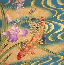 JAPANESE HOFFMAN IZUMI KOI GARDEN WISTERIA IRIS GOLDEN WAVES PANEL COTTON FABRIC