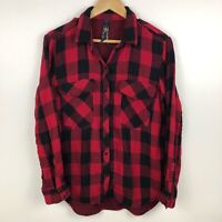 Seven7 Women's Shirt Size L  Buffalo Plaid Red Black Snap Button Up Casual