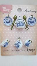 Pemberley Miniature Glass Charm Set - Sugar, Creamer. Cups & Saucer, Spoons Blue