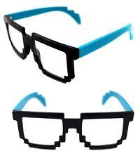Men's Women's 8 Bit Tetris Pixel Glasses Clear Lens Eye Glasses Black Blue 80s