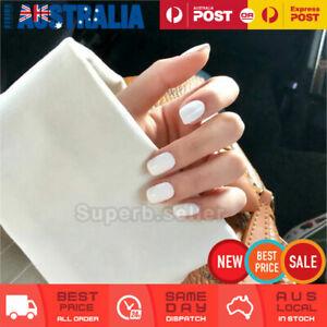 24pc Short Shine White Fake Nail Tips Glue On Reusable False Press On Artificial