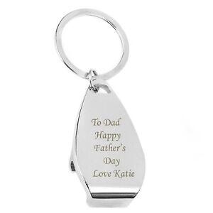 Personalised Engraved Chrome Bottle Opener Keyring- Birthdays, Weddings, for hm
