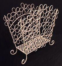 Wrought Iron Shabby Cottage Chic Off White Scroll Metal Magazine Rack Basket EUC