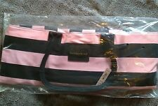 NWT Victoria's Secret Striped Large Canvas Tote Weekender Beach Gym  Bag