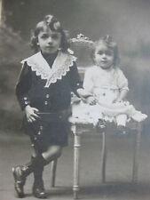 Photographie ancienne Deux enfants élégants Costume mode vers 1910