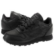 Reebok Classic Leather # J90143 Triple Black Little Kids Pre School SZ 10.5 - 3