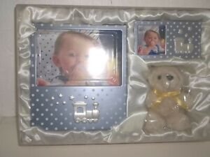 Baby Gift Set 2 Pictures Frames And Stuffed Teddy Bear Blue/Silver New