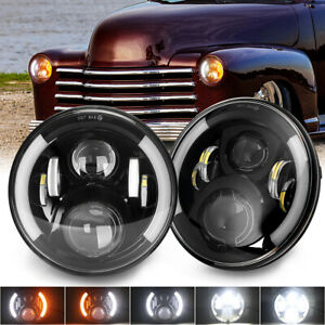 """Pair 7"""" Inch LED Headlights Round Hi Lo Beam Sealed For Chevy Truck 1947 to 1956"""