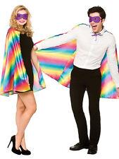 Rainbow Multi Colour Cape & Mask Gay Pride Ladies Mens Fancy Dress Accessory New