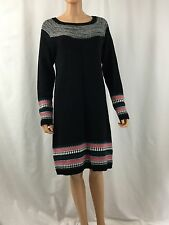 Athleta M Fair Isle Sweater Dress Black 879198