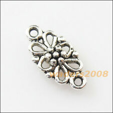 20 New Oval Flower Connectors Tibetan Silver Tone Charms Pendants 8x16mm