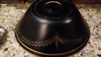 Vintage Black & Gold Toleware Metal Lamp Shade - 12 Inch (no crown topper)
