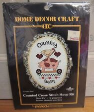 Country Ham PARAGON Counted Cross Stitch Hoop Kit #8065, Pig, Chicken, Farm