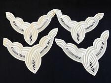 """VTG lot of 4 pc 7.25""""x 9"""" White color Lace Trim Applique Patch collar"""