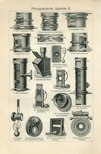 1895 OLD PHOTOGRAPHY PHOTO CAMERAS Antique Engraving Print