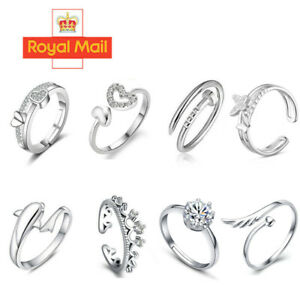 Womens 925 Sterling Silver Rings Adjustable Thumb Wedding Engagement Gift