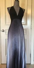 Cache Evening Pleated Dress  Long  Size 4  Multi Colored Black &  Gray